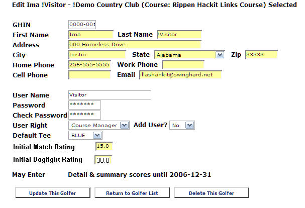 edit golfer information, golfer name, address, GHIN number, GHIN #, Golfer rating, dogfight rating