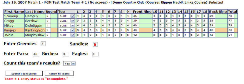 enter scores for golf match teams